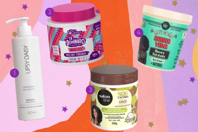 Montagem com opções de produtos para cabelo cacheado. Os produtos estão em um fundo com um mix de cores, entre elas as cores: laranja, rosa, salmão e lilás. E estrelas douradas.