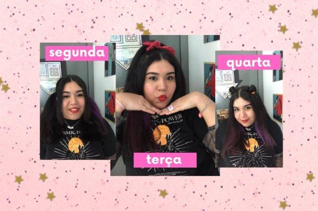 Fundo rosa com bolinhas, com montagem de fotos de uma jovem sorridente, usando camisa preta com detalhes em branco e laranja. Ela faz caras e bocas divertidas nas imagens.