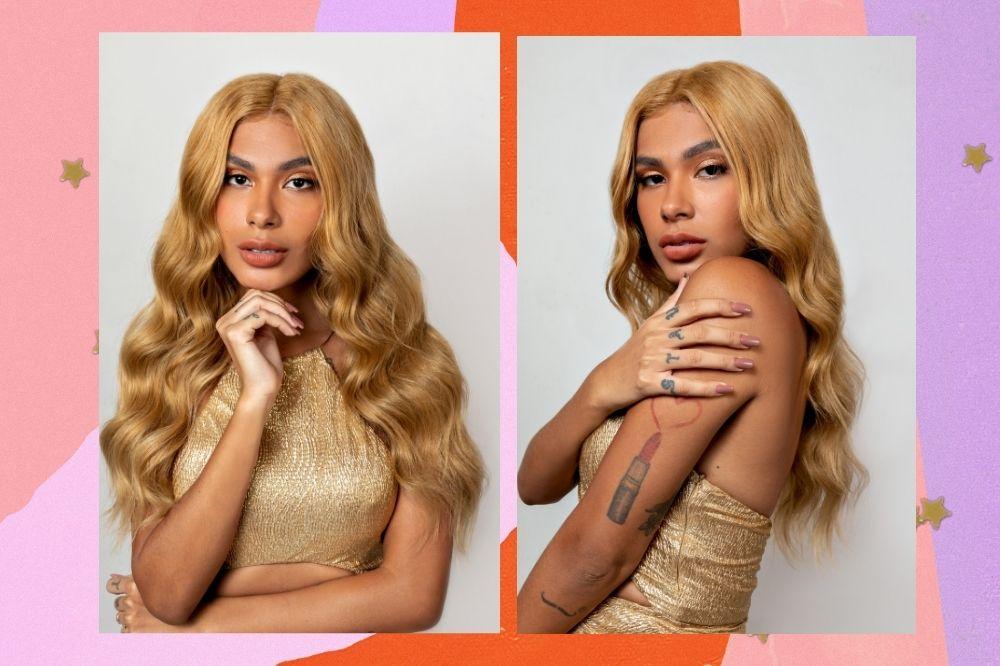 Montagem com fundo rosa, laranja, lilás com duas fotos da cantora Pocah com seu cabelo loiro e usando roupa dourada.