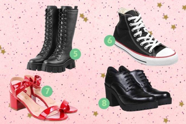 Montagem com fundo rosa com bolinhas e sapatos de diversos modelos espalhados por ela.