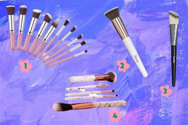Montagem com a foto de diversos modelos de pincéis de maquiagem espalhados por ela.