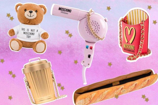 Fundo rosa com degrade em roxo, e várias imagens de bolsas da marca Moschino.
