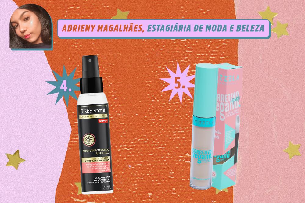 Montagem com dois produtos de beleza, um de cabelo e um corretivo. Indicações de Adrieny Magalhães, estagiária de moda e beleza da CAPRICHO. O fundo é laranja, rosa e lilás com estrelas douradas.