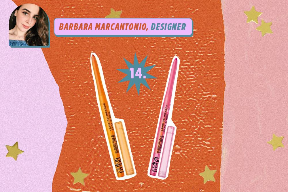 Montagem com o mesmo produto de beleza em duas cores diferentes: um lápis de olho laranja e rosa. Indicações de Barbara Marcantonio, designer da CAPRICHO. O fundo é laranja, rosa e lilás com estrelas douradas.