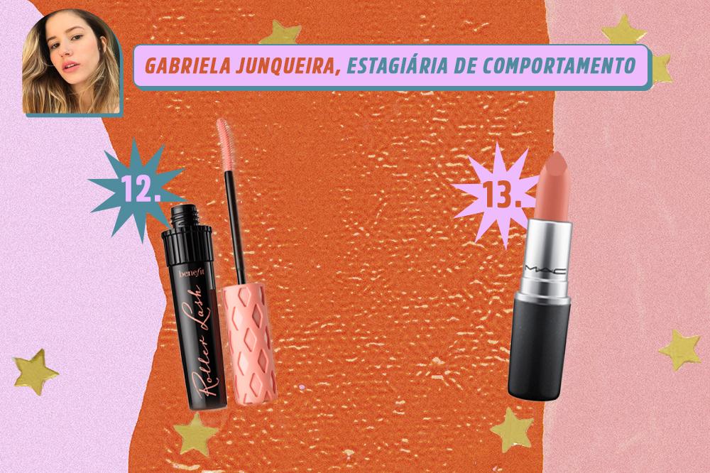 Montagem com dois produtos de beleza: uma máscara de cílios e um batom nude. Indicações de Gabriela Junqueira, estagiária de comportamento da CAPRICHO. O fundo é laranja, rosa e lilás com estrelas douradas.