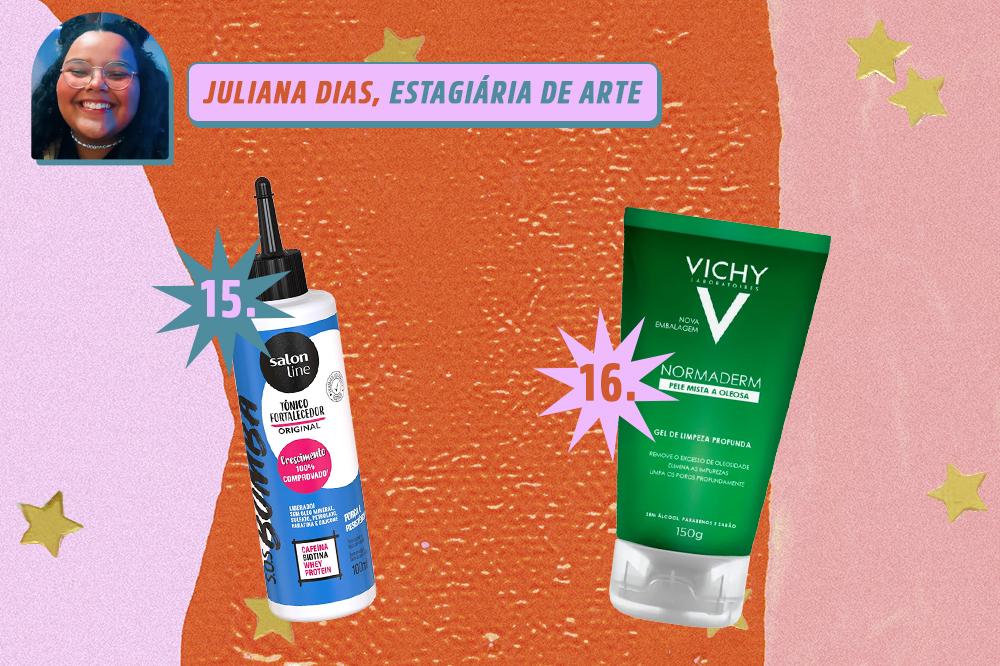 Montagem com dois produtos de beleza, um creme para o cabelo e um sabonete facial. Indicações de Juliana Dias, estagiária de arte da CAPRICHO. O fundo é laranja, rosa e lilás com estrelas douradas.