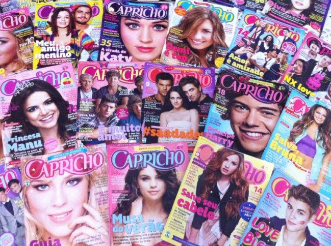 Coleção de revistas CAPRICHO, com capas da Manu Gavassi, do One Direction, da Demi Lovato, da Selena Gomez, da Katy Perry...