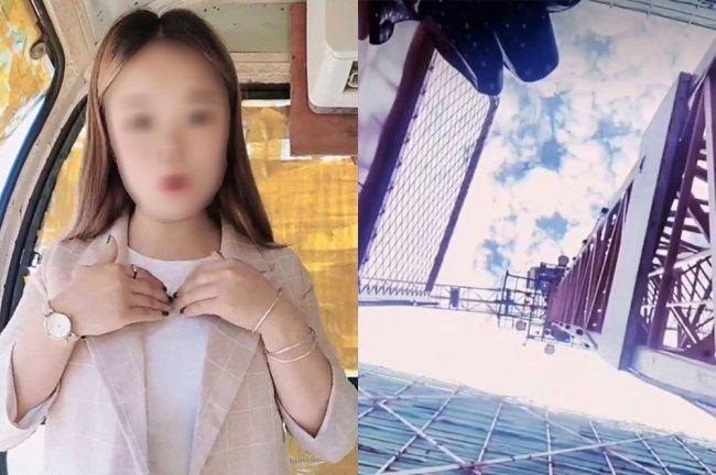 À esquerda, garota chinesa usando blusa branca e casaco bege posa pras redes. À direita, foto do céu e de um guindaste