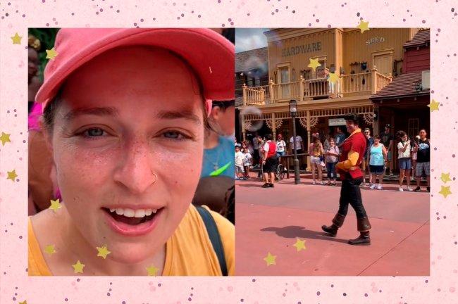 Na colagem, Grace aparece usando boné rosa e camiseta amarela à esquerda. Na imagem da direta, Gaston aparece caminhando pelo parque