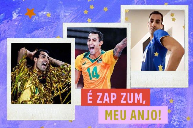 Montagem com fotos do jogador de vôlei Douglas Souza. O fundo é azul com estrelinhas douradas