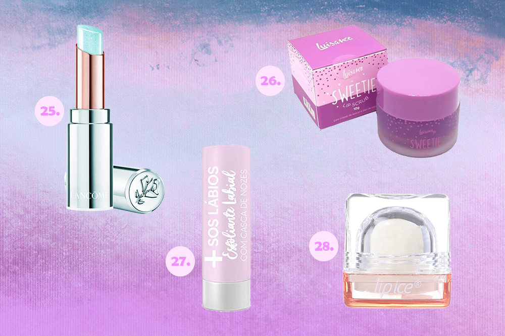 Montagem com cinco opções de esfoliantes e hidratantes labiais. O fundo é em degradê com tons de lilás, roxo e azul.