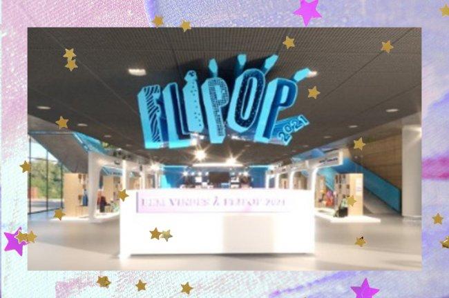 Print do ambiente virtual da entrada do Festival de Literatura Pop 2021 promovido pela Seguinte; o letreiro azul do evento se destaca acima de uma bancada branca; a margem é uma textura em tons de rosa, roxo e azul com estrelas amarelas e lilás decorando a imagem