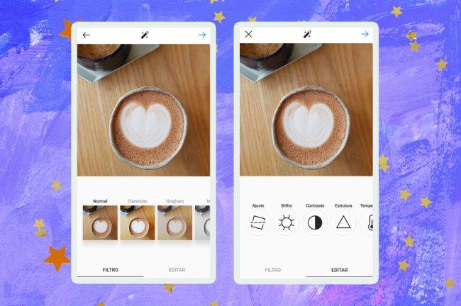 Imagem mostrando uma foto de um café, com espuma em formato de coração, sendo editada no Instagram