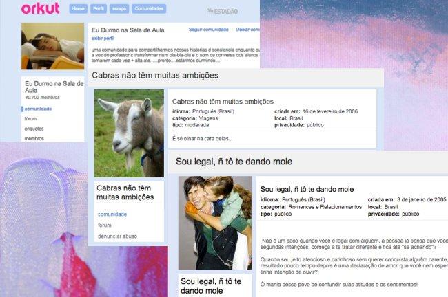 """Fotos de várias comunidades antigas do Orkut com temas aleatórios, do tipo: """"Cabras não têm muitas ambições"""""""