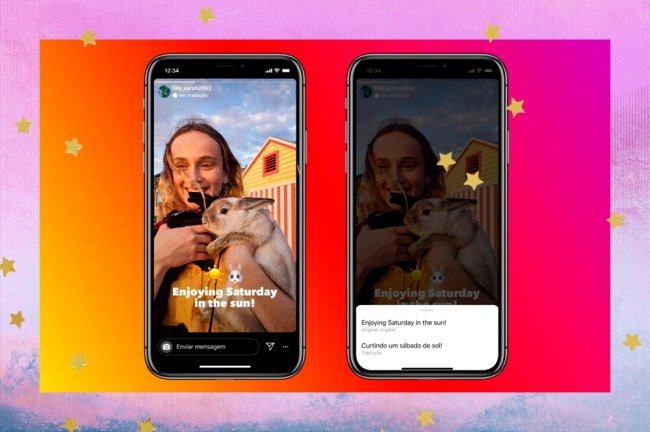 A colagem mostra duas telas do Instragram com o novo recurso que possibilita traduzir os stories