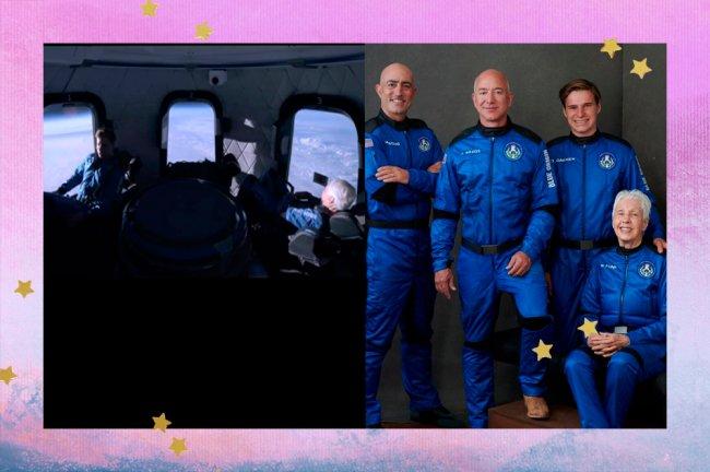 Colagem com duas imagens. Na primeira, imagem interna da cápsula da Blue Origin. Na segunda, tripulação do voo