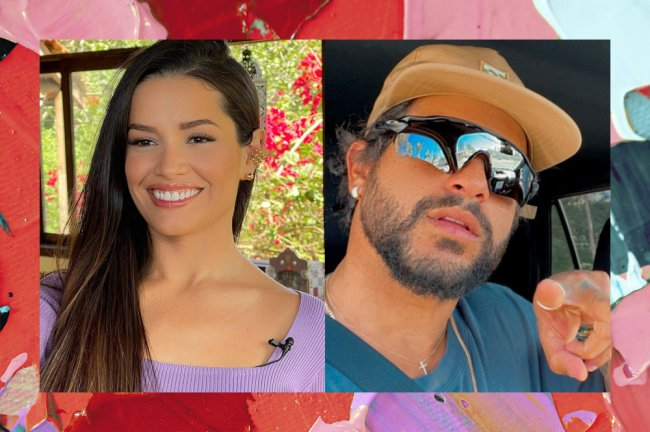 Montagem com duas fotos; na primeira Juliette sorrindo usando uma roupa lilás; na segunda uma selfie de Ítalo Ferreira com uma expressão neutra usando uma blusa azul escura com boné bege e óculos de sol, ele aponta com o indicador para a câmera