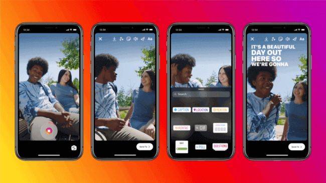 Imagens mostrando como vai funcionar a ferramenta de legendas automáticas para Stories no Instagram