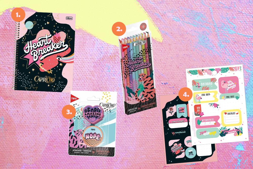 Montagem com itens de papelaria da CAPRICHO em fundo rosa, lilás e amarelo. Em cima, um caderno espiral e um kit de lápis de cores. Embaixo, um kit com borracha e apontador e outro com duas cartelas de adesivos.