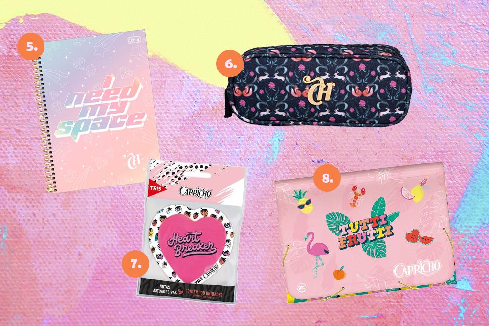 Montagem com quatro itens de papelaria da CAPRICHO em fundo rosa, lilás e amarelo. Em cima, um caderno espiral e um estojo com estampa de raposinhas. Embaixo, uma nota autoadesiva em formato de coração e uma pasta sanfonada rosa.
