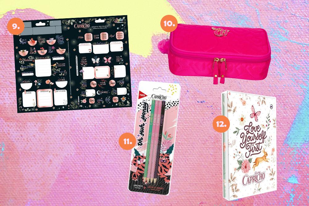Montagem com quatro itens de papelaria da CAPRICHO em fundo rosa, lilás e amarelo. Em cima, uma cartela de adesivos e um estojo rosa. Embaixo, um kit de lápis e uma pasta branca.