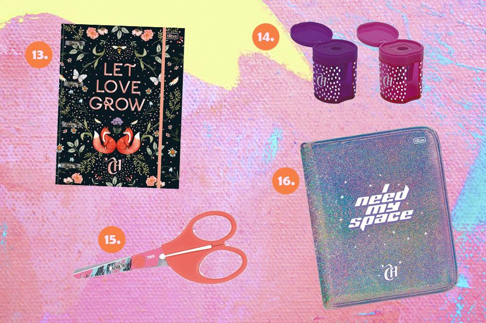 Montagem com itens de papelaria da CAPRICHO em fundo rosa, lilás e amarelo. Em cima, um caderno e dois apontadores (roxo e rosa). Embaixo, uma tesoura laranja e uma capa de fichário com glitter.
