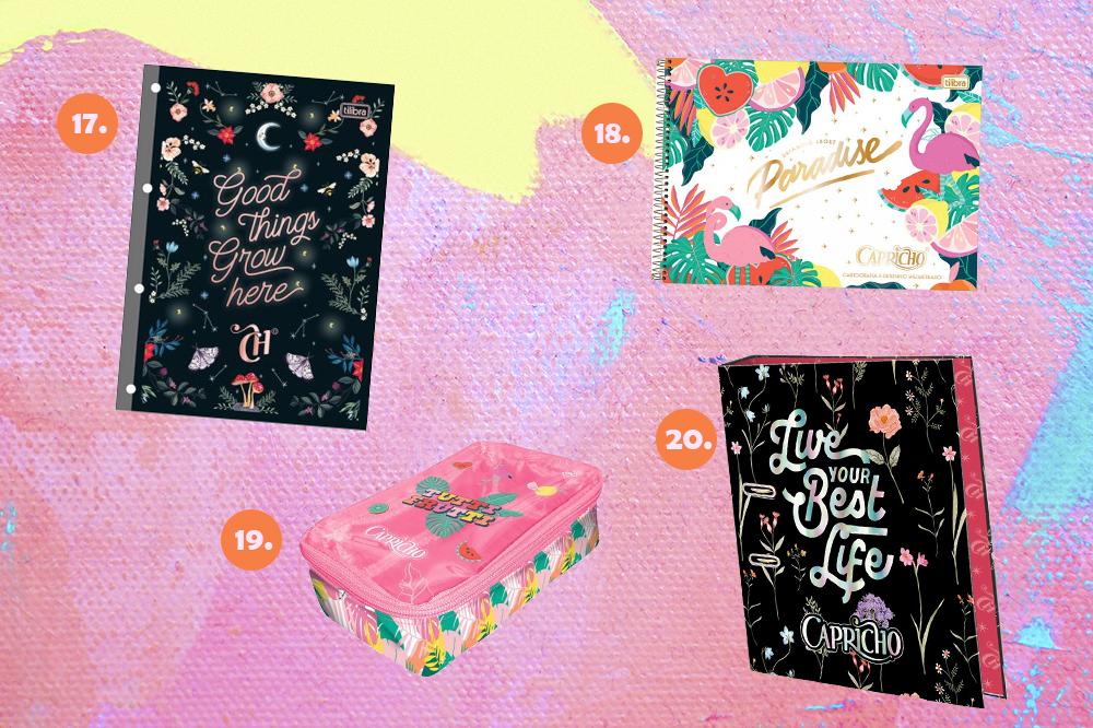 Montagem com quatro itens de papelaria da CAPRICHO em fundo rosa, lilás e amarelo. Em cima, um refil de fichário e um caderno de cartografia. Embaixo, um estojo baú e uma pasta de A a Z.