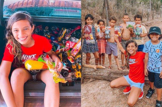 Rayssa Leal posa ao lado de crianças de uma comunidade carente após distribuir brinquedos para elas