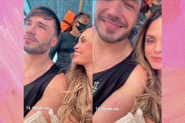 Montagem com imagem de Sarah Andrade olhando para Lucas Viana, que olha para longe, e outra imagem dos dois olhando para câmera
