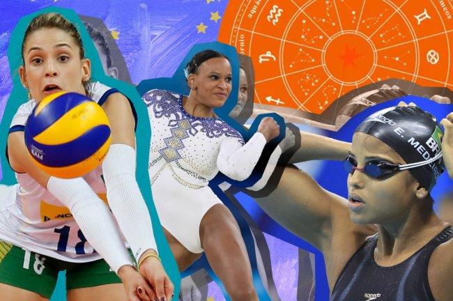 Montagem com as fotos das atletas Camila Brait, do vôlei, Rebeca Andrade, da ginástica, e Etiene Medeiros, da natação