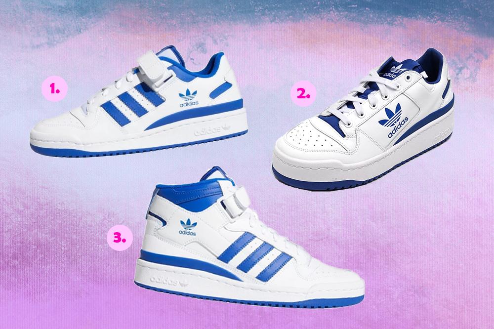 Montagem com três tênis do modelo Forum da Adidas em fundo degradê em tons de lilás e roxo. Os modelos são branco e azul e, em cima, tem duas versões de cano baixo, enquanto embaixo da foto há uma de cano alto.