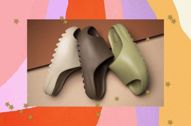 Montagem com três cores de chinelo da Adidas, sendo bege, marrom e verde.