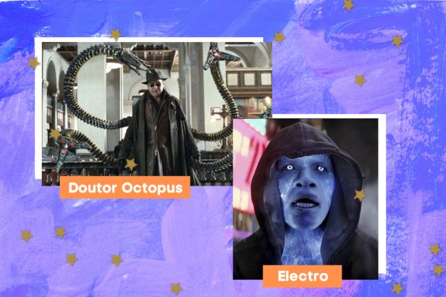 Montagem com fundo azul, escrito o nome dos personagens em branco com fundo laranja, e foto do Doutor Octopus e Electro.