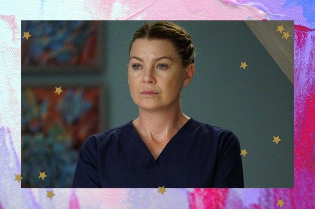 Ellen Pompeo como Meredith Grey em seriado. Ela está com uma expressão séria.