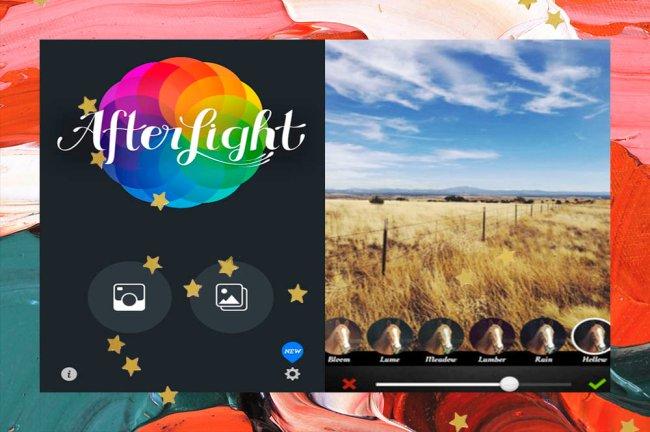 Colagem com imagem da interface do aplicativo de fotos After Light