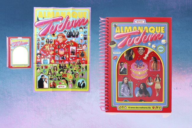Duas imagens do Almanaque do Tudum Netflix em um fundo degradê de azul e roxo