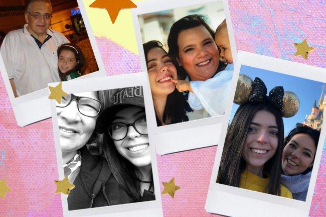 Fotos da Beca, da Galera CAPRICHO, com familiares: na rua, vestindo uma camisa do Palmeiras, na Disney, com orelhas da Minnie, e com um boné dos Beatles