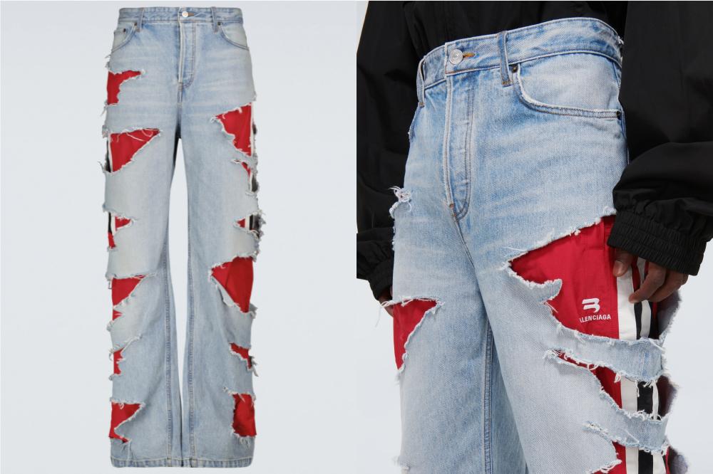 Montagem com duas fotos de calça jeans da Balenciaga usada por Rihanna. À esquerda, está apenas a calça, que possui lavagem clara, é toda rasgada e, por baixo, tem um tecido vermelho. À direita, a foto está ampliada e um modelo está usando a calça. Dá para ver também a blusa preta de manga comprida.