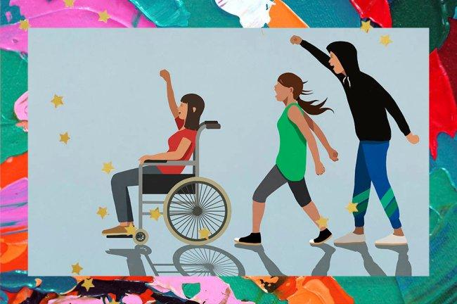 Ilustração de três pessoas manifestando. A primeira é uma mulher de camiseta vermelha e de cadeira de rodas. A segunda é outra mulher de camiseta verde e, por último, aparece um homem de moletom preto e com o braço erguido.