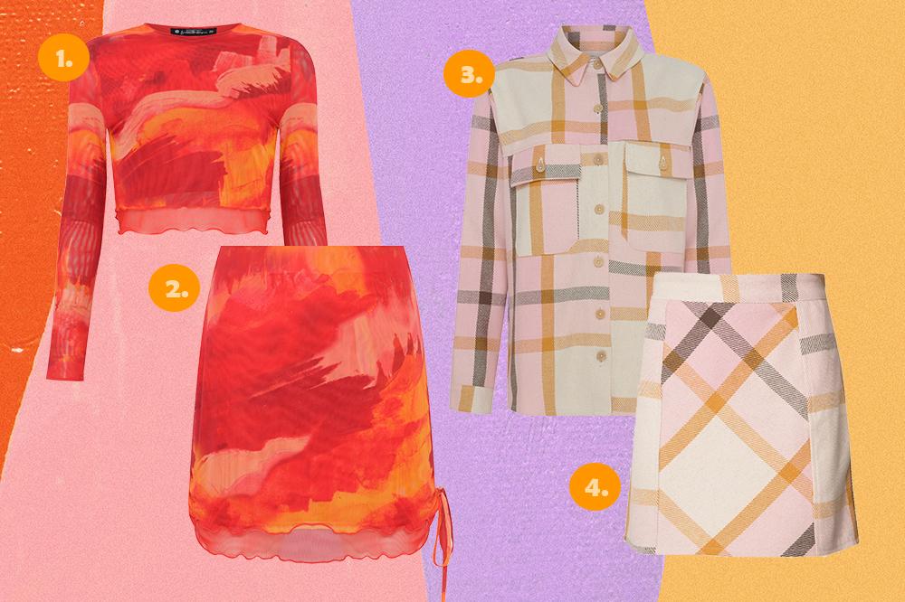 Montagem com quatro peças da coleção Bruna Marquezine e Sasha Meneghel para C&A em fundo rosa, lilás e amarelo. Um conjuntinho de blusa cropped e saia de tule estampada em vermelho e outro de camisa e saia em estampa xadrez.