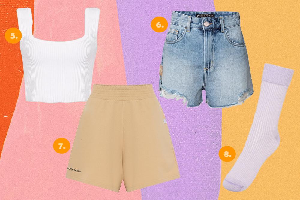 Montagem com quatro peças da coleção Bruna Marquezine e Sasha Meneghel para C&A em fundo rosa, lilás e amarelo. Um top cropped branco, uma bermuda kaki de moletom, um short jeans e uma meia lilás.