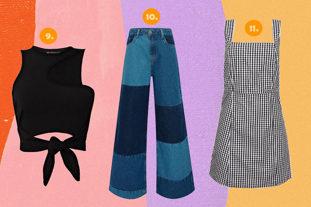 Montagem com três peças da coleção Bruna Marquezine e Sasha Meneghel para C&A em fundo rosa, lilás e amarelo. Um top cropped preto, uma calça jeans wide leg patchwork e um vestido xadrez vichy preto e branco.
