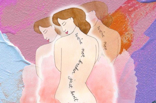 Ilustração de uma mulher de costas. No lugar da coluna com escoliose, os dizeres:
