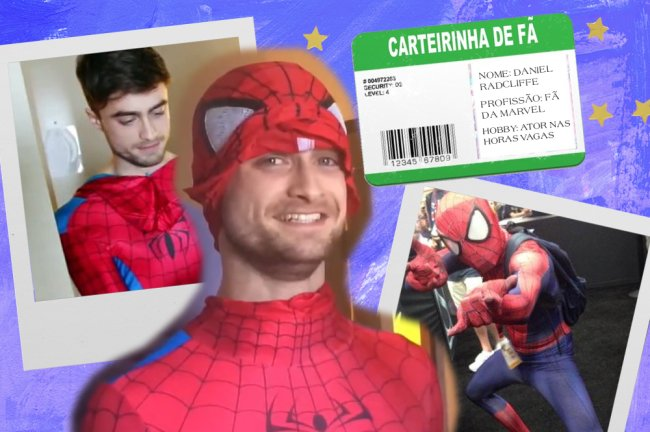 Montagem com fotos do Daniel Radcliffe vestido de Homem Aranha