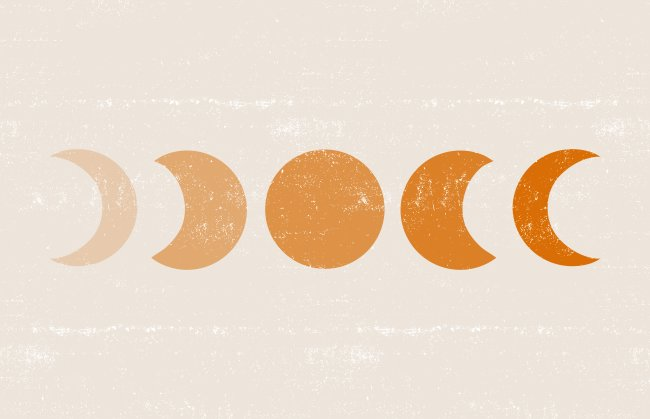 Ilustração com todas as fases da lua: Nova, Cheia, Crescente e Minguante