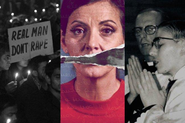 Colagem com cenas de filmes e documentários sobre assédio sexual. Na primeira foto, um cartaz com os dizeres