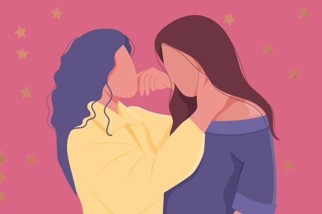Ilustração de um casal lésbico. As mulheres têm cabelos longos e vestem camisas