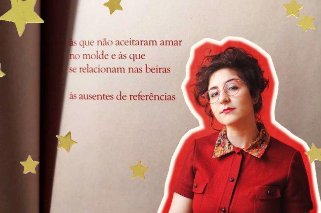 A foto da autora Gabriela Soutello sobre uma página de um livro escrito por ela
