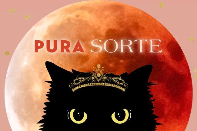 Ilustração de um gato preto usando uma coroa de princesa sobre uma lua cheia avermelhada. Sobre ele, aparece o escrito