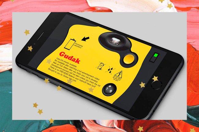 Colagem com imagem da interface do aplicativo de fotos Gudak